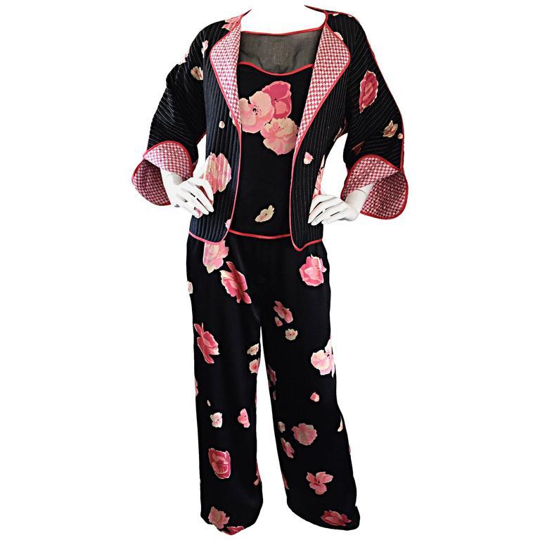 Important Geoffrey Beene Vintage 3 Piece Silk Pajama Style Jacket + Top + Pants