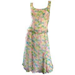 Vintage Rena Lange 1990s Silk Chiffon ' Dragonfly ' Dress Set Blouse + Skirt