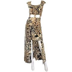 Amazing 1990s Vintage High - Low Animal Print Boho Bamboo Cut - Out 90s Dress
