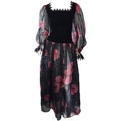 Guy Laroche Vintage Chiffon + Silk Velvet Black + Red Flower Print Gown Dress