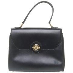 Saks Fifth Avenue Ebony Leather Handbag Made in Italy