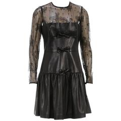 Valentino Black Long Sleeve Lace and Leather Drop Waist Dress (Size 44)