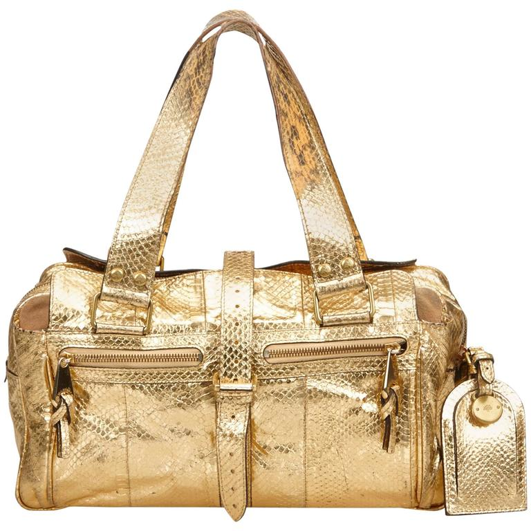 9a7d3f42983 Mulberry Gold Metallic Python Leather Roxanne Hand Bag For Sale at ...