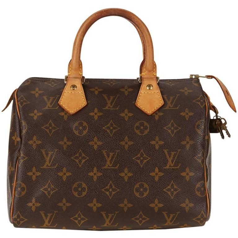 ... PursesTop Handle Bags. 2001 Louis Vuitton Brown Classic Monogram Canvas  Vintage Speedy 25 For Sale a5c9822d20