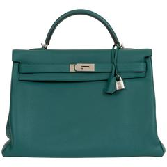 Hermès Malachite & Palladium Kelly Bag