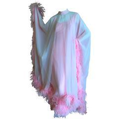Jean Louis Couture Two Layer Feather Trim Chiffon Dress & Caftan