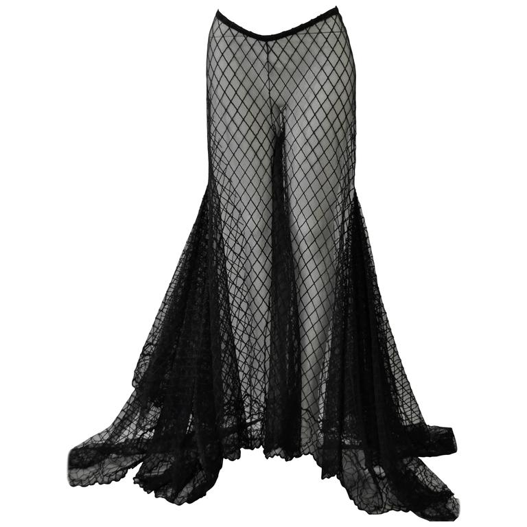 Dramatic Gianni Versace Couture Sheer Silk Tulle Lace Maxi Palazzo Pants 1