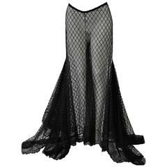 Dramatic Gianni Versace Couture Sheer Silk Tulle Lace Maxi Palazzo Pants