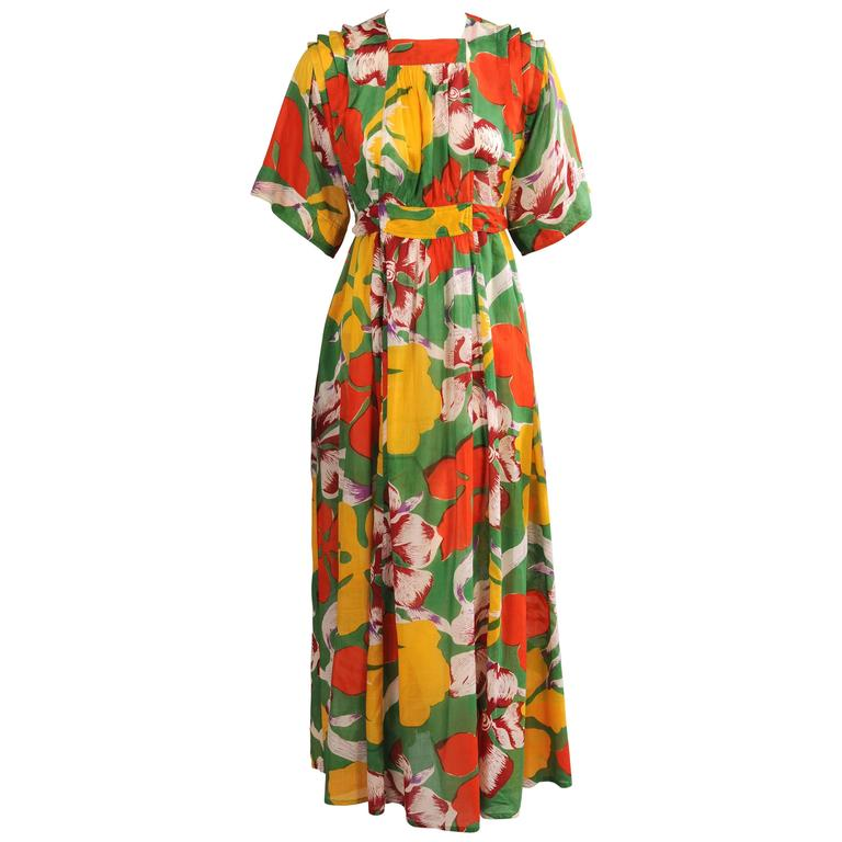 Jean Muir 1970's Colorful Tropical Print Dress