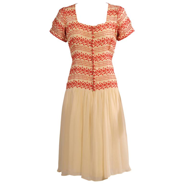 1930's Vintage Red and Cream Embroidered Dress 1