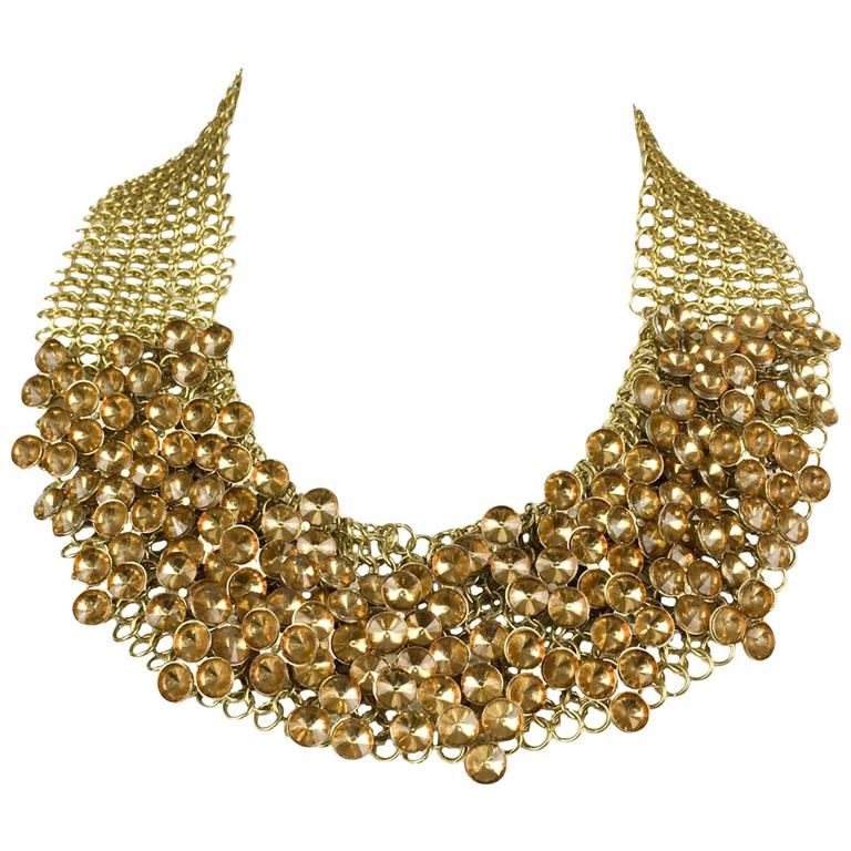 Celine Gold-Tone Beaded Necklace - 1990s 1