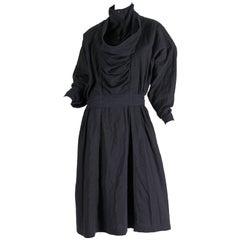 Early Minimalist Issey Miyake Cotton Dress1980S Issey Miyake Black Cotton Dress