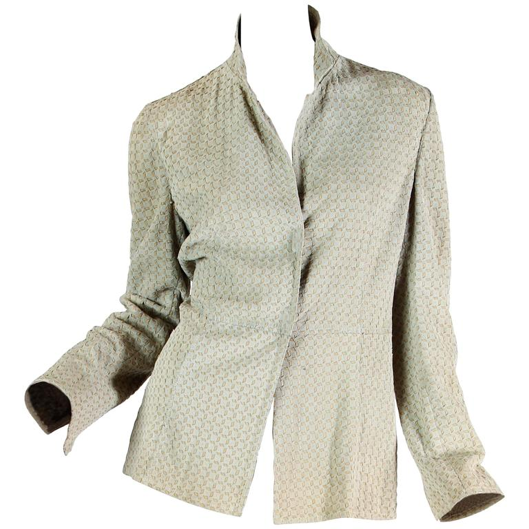 Armani Embroidered Suede Jacket For Sale