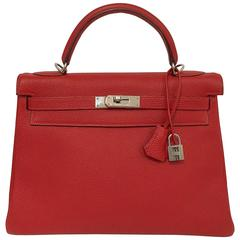2004 Hermes Kelly 32 Vermillion Togo PHW Excellent Condition