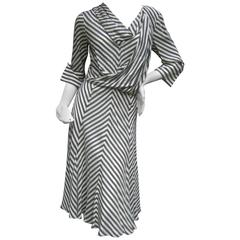 Les Copains Crisp Silk Chevron Striped Dress Made in Italy