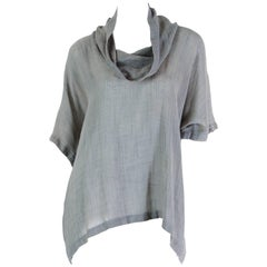 1970S Issey Miyake Grey Linen & Wool Oversized Cowl Neck Top