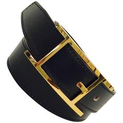 2003 Hermes Quentin Reversible Belt Black and Ebony Box Calfskin GHW