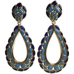 1960s TRIFARI Modern Mosaics Huge Faux Plique a Jour Drop Clip Earrings