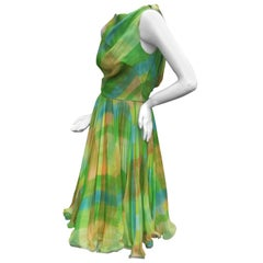 1960s Vibrant Sheer Silk Chiffon Swing Dress ca 1960