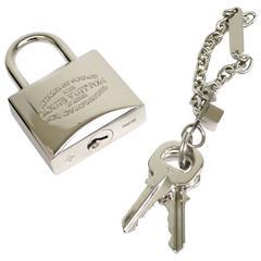 Louis Vuitton Palladium Silver Cadena Lock and Key Keychain Bag Charm in Box