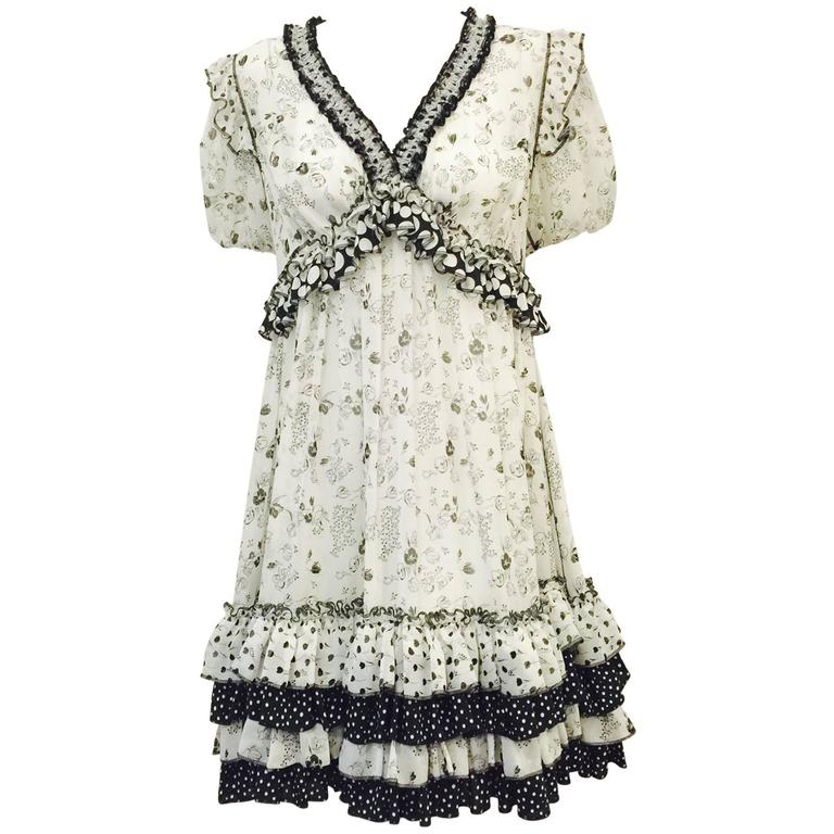 Dolce & Gabbana Black and White Floral and Polka Dot Print Dress