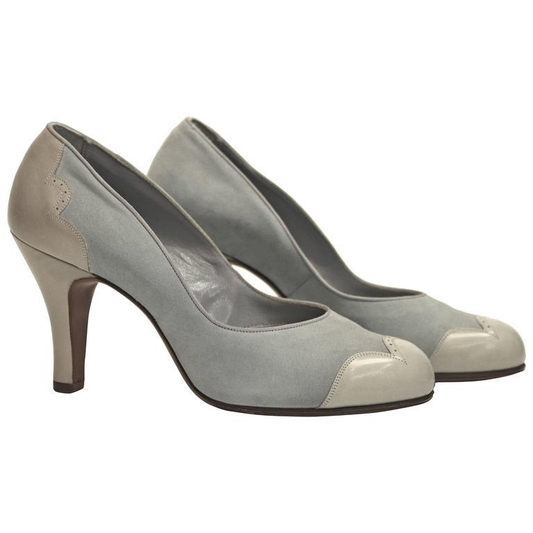 1950s Blue Suede Spectator Heels  For Sale