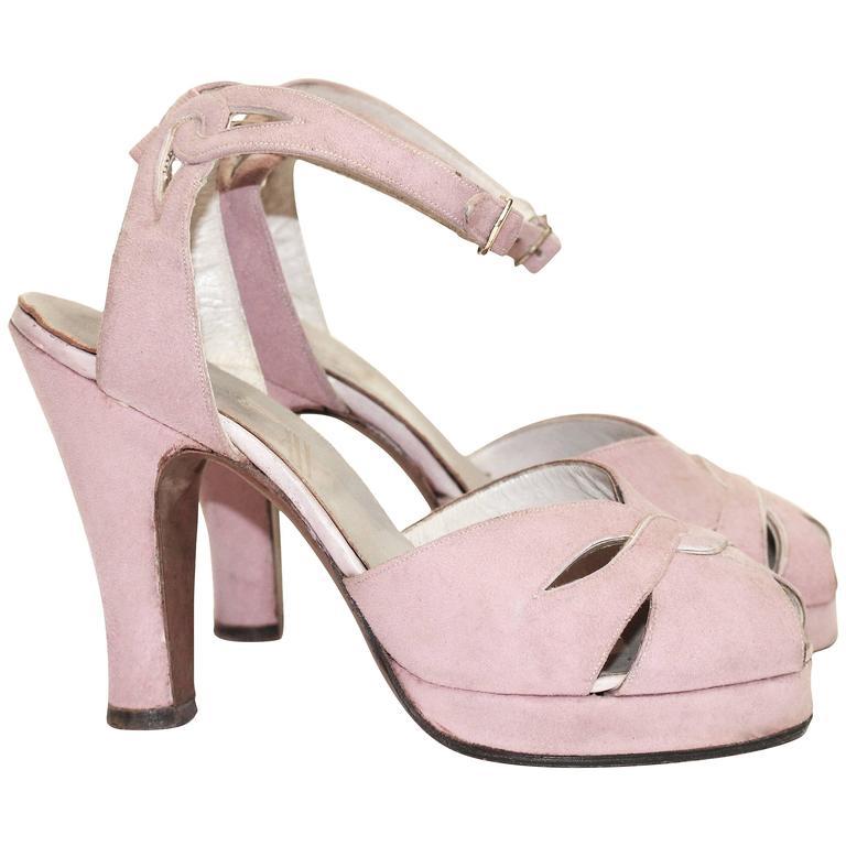 1940s Pink Ankle Strap Peep Toe Platform