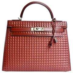 Hermes Kelly 32cm Rouge H Waffle Sellier Palladium Hardware JaneFinds