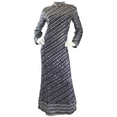 Beautiful 1960s Bill Tice for Malcolm Starr Navy Blue Silk Sequin Beaded Gown
