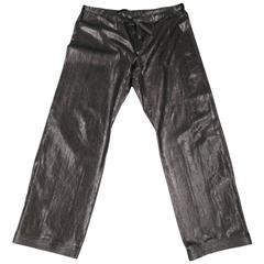 GUCCI Size L Black Wide Leg Python Pants Spring 2001