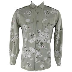 GUCCI Size M Green Painted Blossom Cotton Long Sleeve Shirt Spring 2003