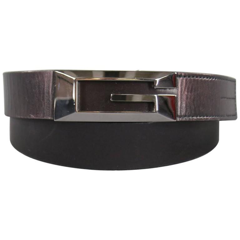 gucci size 38 black leather dress belt at 1stdibs