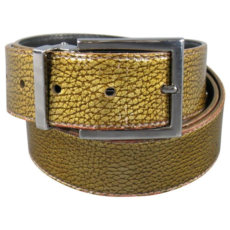 DOLCE & GABBANA Belt -  Size 40 Gold Iridescent Leather Belt