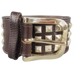 BURBERRY Size 40 Brown Leather Pyramid Studded Belt
