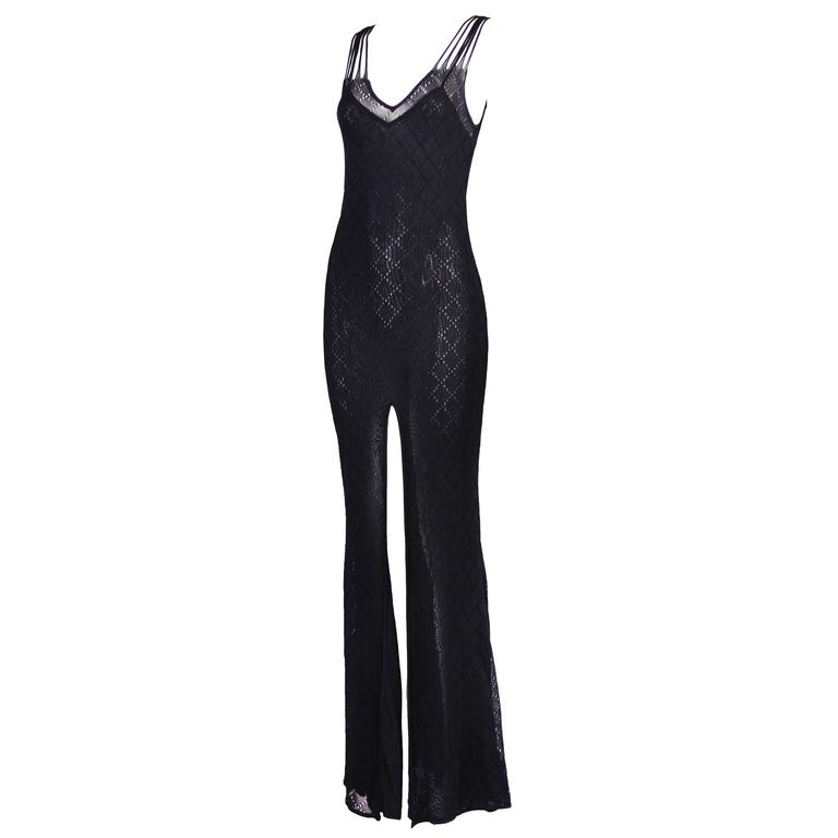 Christian Dior Sleeveless Black Bodycon Evening Gown w/Dramatic Frontal Slit For Sale