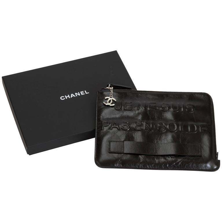 """Chanel Black """"Je Ne Suis Pas En Solde"""" Bag For Sale"""