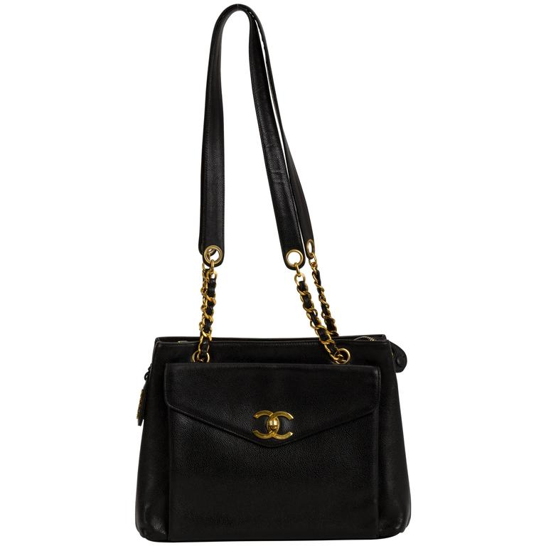 Chanel Large Black Caviar Leather Shoulder Tote Bag