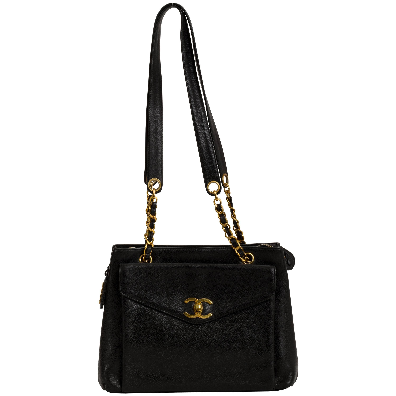 Chanel Large Black Caviar Leather Shoulder Tote Bag