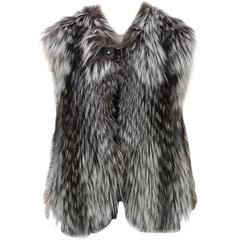 Louis Vuitton Brown and White Silver Fox Fur Vest (Size 36)