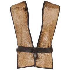 Hermes Brown Goat Hair Leather Trim Belted Vest (Size 40)