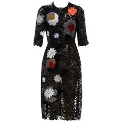 Dolce & Gabbana Black Half Sleeve Macrame Floral Applique Dress AW 14 (Size 40)