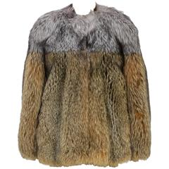 Lanvin Brown and Gray Fox Fur Zip Jacket (Size 38)