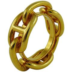 Hermes Gold Toned Chaine d'Ancre Scarf Ring