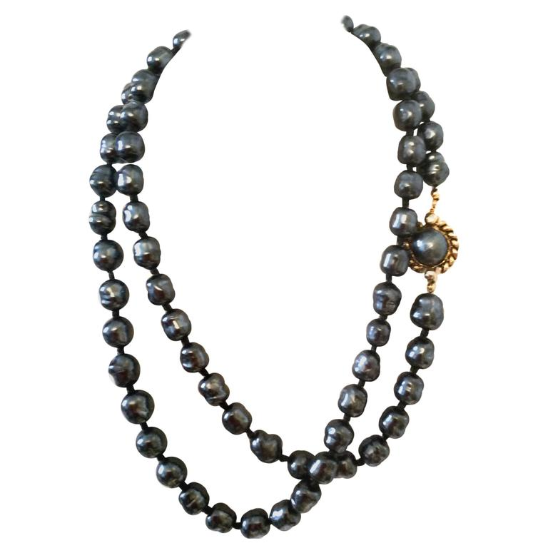 Chanel Dark Gray Pearl Necklace 1