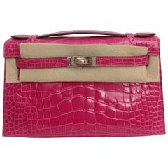 Hermes Kelly Pochette Fuschia Crocodile Alligator PHW