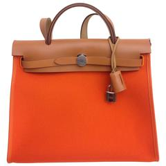 HERMES ZIP HERBAG Orange CANVAS & LEATHER