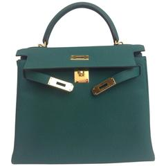 Hermes Kelly 28 Green Malachite Togo GHW