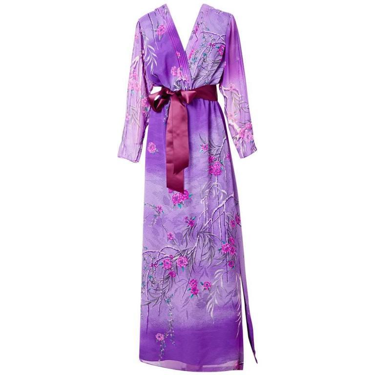 Hanae Mori Floral Pattern V Neck Gown For Sale