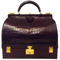 Rare Vintage Hermes 1950s Burgundy Matte Crocodile Sac Mallette -Excellent!