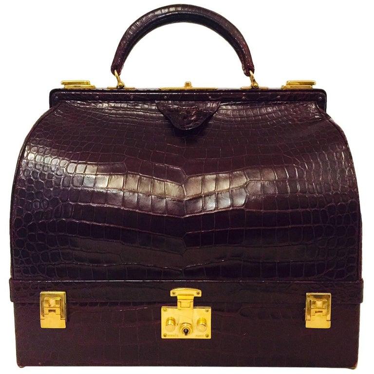 ca178a74d Rare Vintage Hermes 1950s Burgundy Matte Crocodile Sac Mallette -Excellent!  For Sale